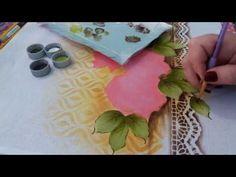 Pintura com stencil (bule redondo com Rosas) parte 2 - YouTube