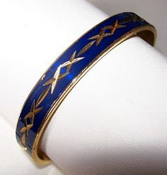 Bangle Bracelet Royal Blue Enamel Gold by BrightgemsTreasures