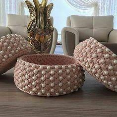 Diy Crochet Pillow, Diy Crochet Basket, Crochet Box, Crochet Basket Pattern, Diy Hooks, Crochet Jewelry Patterns, Crochet Storage, Crochet Decoration, Diy Pillows