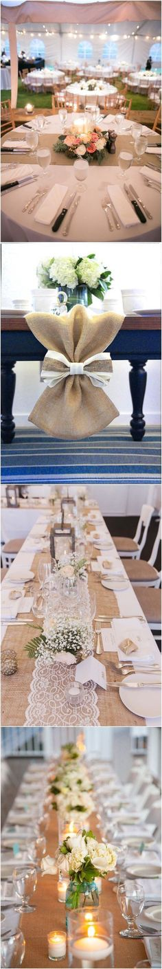Rustic Country Burlap Wedding Table Decor Ideas #weddings #weddingideas #countryweddings #weddingdecoration