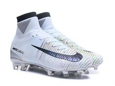 lower price with d1aa0 e70ab Mens Nike Mercurial Superfly V CR7 Melhor FG High Top Soccer Cleats Silver  Blue Tint Black