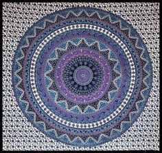 Mesmerizing medallion tapestry crafted in soft woven cotton. Instantly adds a unique touch of boho charm to any living space or dorm room. Doubles as a beach or