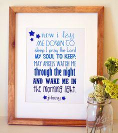 Now I Lay Me Down to Sleep Print Baptism Gift Bible verse Blue Nursery Art New Baby Gifts, Kids Gifts, Baptism Quotes, Sleep Prayer, Nursery Pictures, Nursery Quotes, Getting Ready For Baby, Lay Me Down, Nursery Name