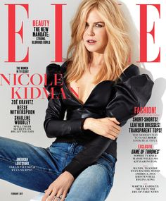 Nicole Kidman in Saint Laurent Spring 2017 on the February 2017 Cover of ELLE Magazine