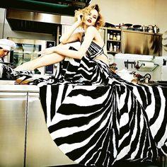 Roberto Cavalli Spring/Summer 2015 Zebra Print Maxi Dress