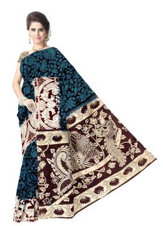 Kalamkari Hand Block Print Cotton Saree-Blue&Brown