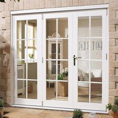 Nuvu 8 Pane White Exterior French Doors with Side Frame Left, Fully Decorated