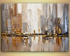 Abstract Cityscape Art Paintings for Sale - Modern Art by Osnat Blue Abstract Painting, City Painting, Abstract Canvas, Acrylic Painting Canvas, Abstract Paintings, Oil Paintings, Knife Painting, Acrylic Art, Modern Paintings