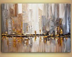 Ciudad rascacielos de moderno de 48 x 24 pintura por OsnatFineArt