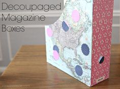 decoupaged magazine boxes with @Martha Stewart #crafts decoupage - click thru for the full #diy how-to