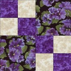 Debbie-Beaves-Lovely-Purple-Cream-Black-Floral-Pansy-Fabric-Quilt-Block-Kit-Cut