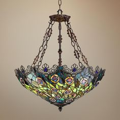 I want this new peacock feather Tiffany chandelier lamp in our new dining room.