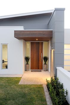 Ideas For Front Door Entrance Porch Lanterns Modern Entrance Door, Modern Exterior Doors, House Entrance, Exterior Design, Modern Entry, Portico Entry, Front Entry, Door Overhang, Front Porch Design