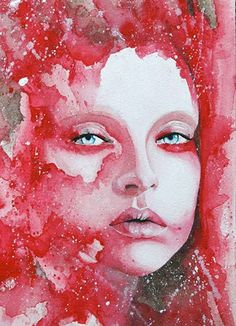 dripping portraits, via: mocabrirbonmade, booooooom watercolor color beauty red