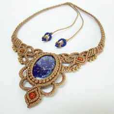 Macrame Necklace Pendant Lapis Lazuli Stone Quartz Waxed Cord Handmade Cabochon #Handmade #Pendant