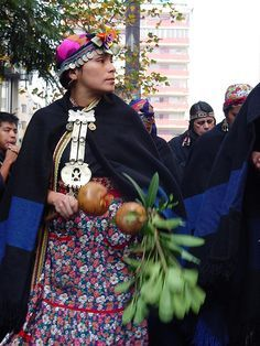 Chile | Mapuche women in traditional dress | Photographer unknown
