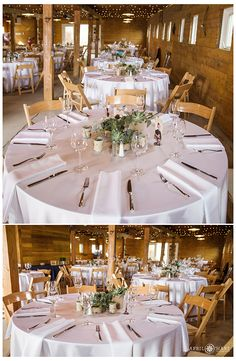 The inside of the Green Farm Barn all decorated for a wedding with succulents at Chatfield Botanic Gardens in Colorado.