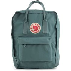 Fjallraven The Kanken Backpack in Frost Green ($57) ❤ liked on Polyvore featuring men's fashion, men's bags, men's backpacks and fjällräven