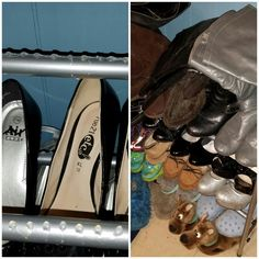 I bought this shoe rack from Walmart and my shoes would never stay on. So the hack to fixing this, is put daubs of hot glue on the rack and your shoes will stay on there. Unless, like me, your cats keep running into it and knocking them over, then this won't work all that well.