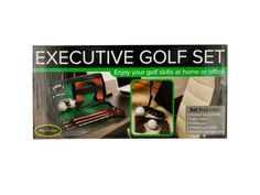 """Executive Portable Golf Set, 3 - Enjoy your golf skills at home or the office with this Executive Portable Golf Set featuring everything needed to play in an easy to care case. Set includes: a 3-section wood shaft, 1 putter head, 1 wooden putting cup, 2 practice golf balls and 1 zippered nylon storage case with a green felt lining. Case measures approximately 12.25"""" x 1.75"""" x 5.5"""". Comes packaged in an individual box.-Colors: black,brown,white,green. Material: metal,plastic,nylon,felt,wood…"""