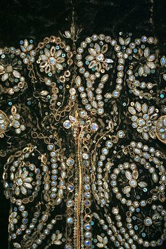 Detail of fabulous metallic thread and sequin embroidery of Dazzling French Court Suit, 1750-1775.