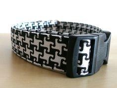 Hund: Halsbänder - Halsband Gassi Punkte Hund Pepita M/L - ein Designerstück von stitchbully bei DaWanda