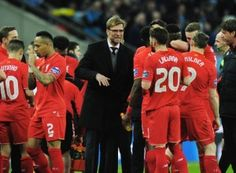 28 Feb 2016 --- Football - 2016 Capital One League Cup Final - Liverpool vs. Manchester City Liverpool manager Jurgen Klopp talks to his team before extra time at Wembley. COLORSPORT/ANDREW COWIE --- Image by © Colorsport/Corbis Hull City, Sports Update, Capital One, English Premier League, Semi Final, Europa League, Manchester City, Liverpool, Football