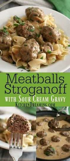 Meatballs Stroganoff is made with a sour cream gravy which is very easy to prepare without the use of canned soups or condensed mixes. Meatballs Stroganoff is kid-friendly comfort food! Stroganoff Beef Beef Gravy Condensed Soup Made Dreaming Easy Homemade Recipes, New Recipes, Cooking Recipes, Recipies, Online Recipes, Food Online, Favorite Recipes, Cooking Ideas, Slow Cooker