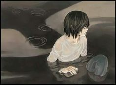 Lawliet  (In a... lake?  Well, I've long since given up on the fanart making sense.  Nice picture.)