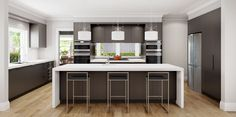 Dark satin polyurethane provides warmth and contrast in this kitchen design. #DanKitchensAus