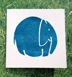 White card with elephant print. Handcrafted Lino Printed card by Nina Martell. Card measures x Comes with envelope. Stamp Printing, Printing On Fabric, Screen Printing, Indian Block Print, Handmade Stamps, Linoprint, Diy Workshop, Elephant Print, Illuminated Letters