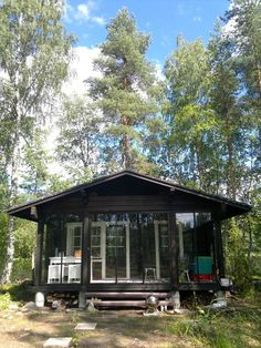 cabin in the woods Micro House, Tiny House, Finland Country, Enclosed Front Porches, Cozy Cabin, Cabins In The Woods, Cottage Homes, My Dream Home, Dream Vacations