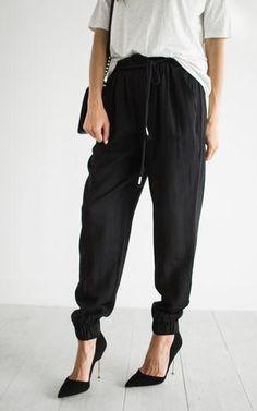 Ily Couture Black Linen Joggers