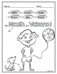 """My Mouth is a Volcano ***Check out this Favorite Authors collection:*** Favorite Authors - Activities BUNDLE These highly engaging Julia Cook - author of """"My Behavior Sheet, Volcano Activities, Book Activities, Color By Numbers, Math Resources, Reading Resources, My Mouth, Elementary Math, Social Skills"""