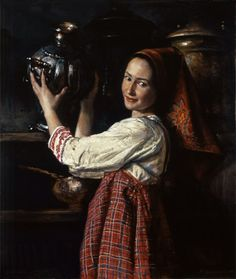 Russian costume in painting. Mikhail Shankov. Homemaker. 1998. #art #folk #painting #Russian