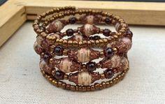 Paper & Garnet beaded memory wire bracelet  pink gold by stillrain