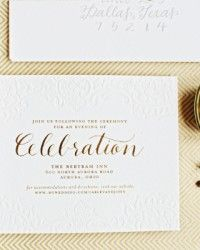 Carley + John's Gold Foil and Calligraphy Wedding Invitations