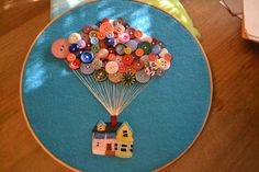 Hoop made with felt and buttons, inspired by the movie Up, too cute! Hot New Arts And Crafts Ideas: Many Arts And Crafts Projects - Craftster