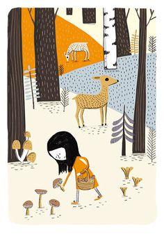 Elise Gravel | Petite fille aux champignons