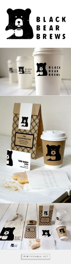 Black Bear Brews packaging on Behance by Todd Bordy curated by Packaging Diva PD. For a type and layout class and thought it would be fun to come up with and brand a Coffee Shop