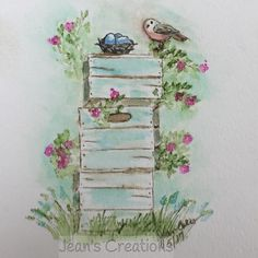 Art Impressions Rubber Stamps: Wonderful Watercolor: Handmade card. bird, nest, wood crates, flowers, foliage, grass