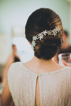 sophisticated wedding hair + hairpiece