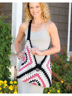 A simple construction of just 3 large granny squares makes this versatile bag a fun, easy project with lots of retro-chic style! Includes written instructions only, plus a placement diagram. This e-pattern was originally published in Crochet World's special publication Creative Crochet in a Day.