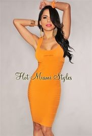 Tangerine Peep Hole Silky Knee Length Bandage Dress - As Seen on Kim Kardashian    $59.99