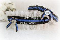 Police Badge Number Wedding Garters   by CreativeGarters on Etsy