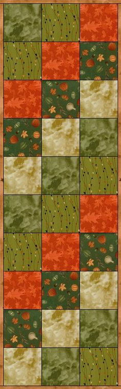 Quilting kit features cotton fabrics with pumpkins, acorns, wheat and fall leaves on a green background. A burnt orange leaf tone o tone, a beige marble blender, a green marble blender and triangles o