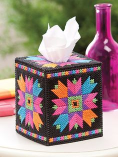 "NEON COLORS Tissuebox Covers_""Quilt Star"""