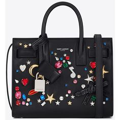 Saint Laurent Classic Nano Sac De Jour Studded Bag ($2,560) ❤ liked on Polyvore featuring bags, handbags, shoulder bags, yves saint laurent handbags, embossed handbags, crystal studded handbags, crystal purse and bow handbag