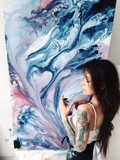 Fluid art abstract painting original art resin painting | Etsy Painting Studio, Pour Painting, Painting Process, Unique Paintings, Original Paintings, Original Artwork, Canvas Paintings, Canvas Art, Modern Wall Art