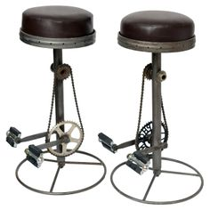 Bicycle Pedal Barstools  sc 1 st  Pinterest & Bicycle-seat stools with foot rests. | Bicycle Decor | Pinterest ... islam-shia.org